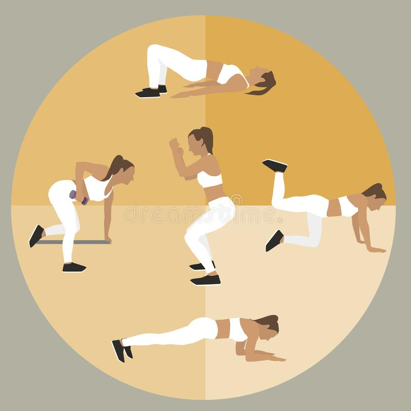 Sport dziewczyn ikony R??norodni sport?w ?wiczenia Wektorowa p?aska ilustracja ilustracji
