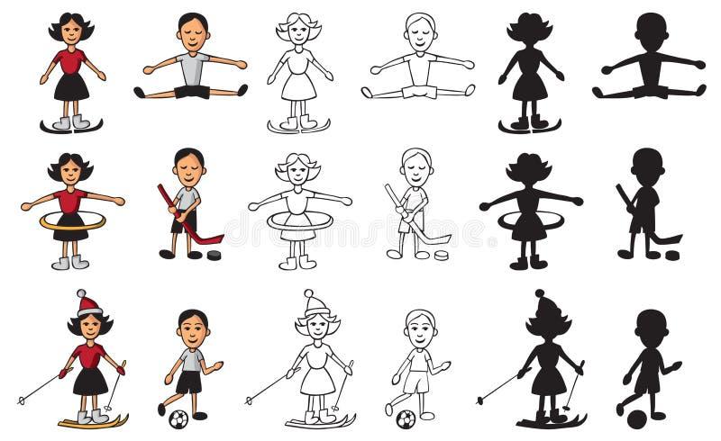 Sport dziewczyna i chłopiec royalty ilustracja