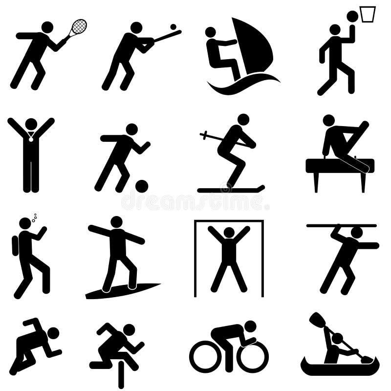 Sport ed icone di atletica illustrazione di stock