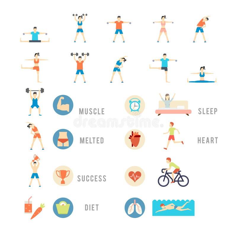 Sport ed illustrazioni della gente di salute illustrazione di stock