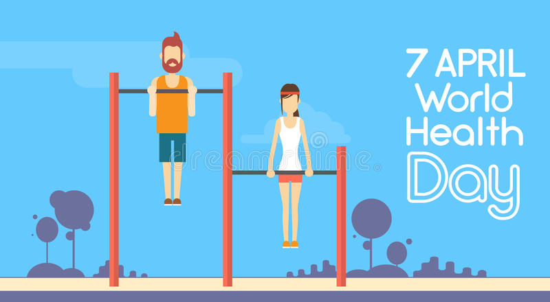 Sport-Eignungs-Mann-Frauen-Chin Up Bar Exercise Workout-Weltgesundheits-Tag 7 April Holiday stock abbildung