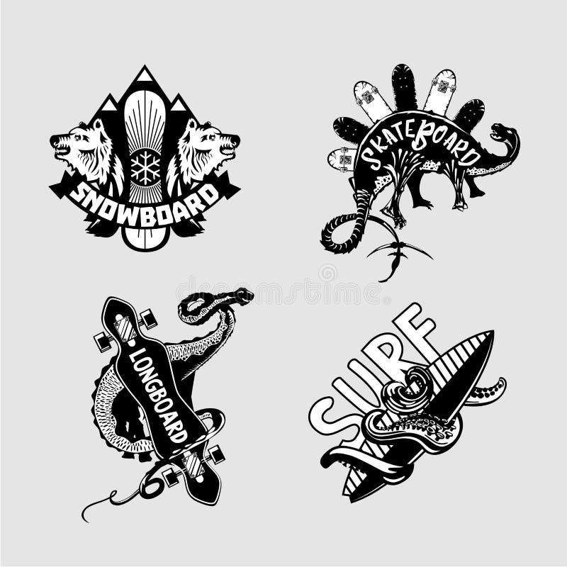 sport ekstremalny Rocznika embleme ustawiający z deskami Longboard, łyżwa, snowboard i surfing, Czarny i biały t koszula druki ilustracji