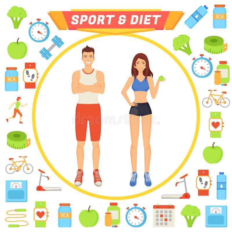 Sport en Dieet de Vectorillustratie van Mensenpictogrammen royalty-vrije illustratie