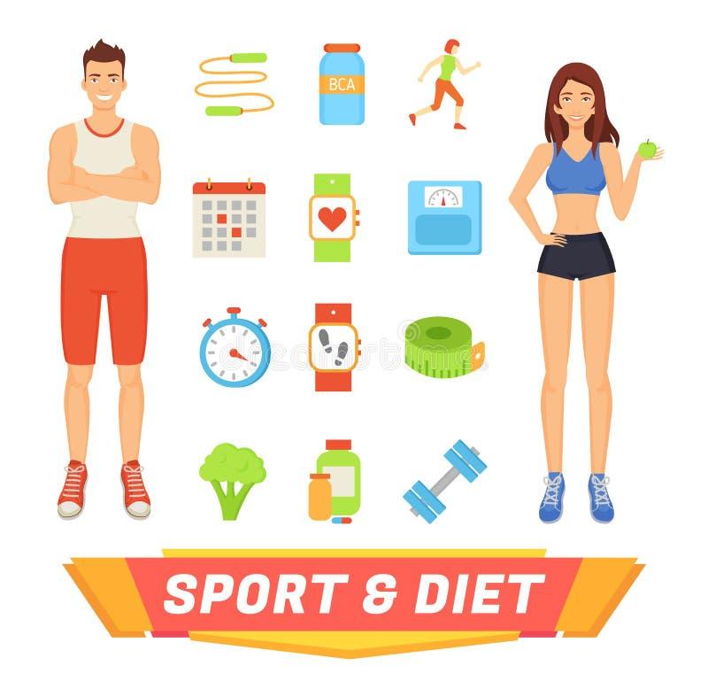 Sport en Dieet de Vectorillustratie van Mensenpictogrammen vector illustratie