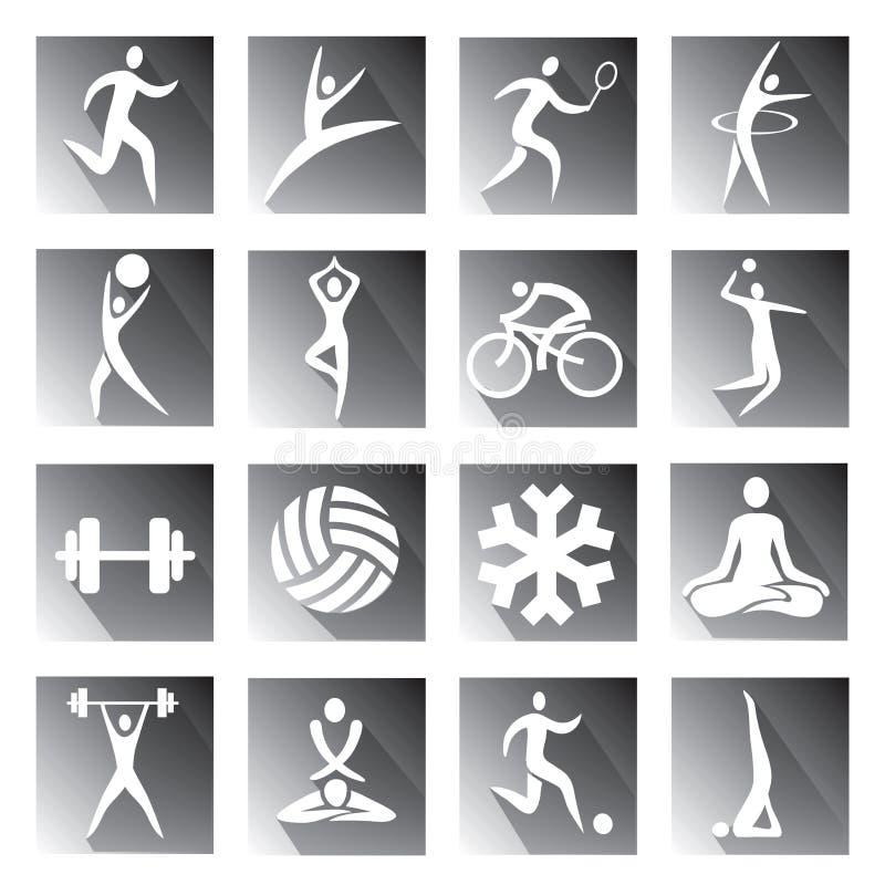 Sport en fitness grijze pictogrammen stock illustratie