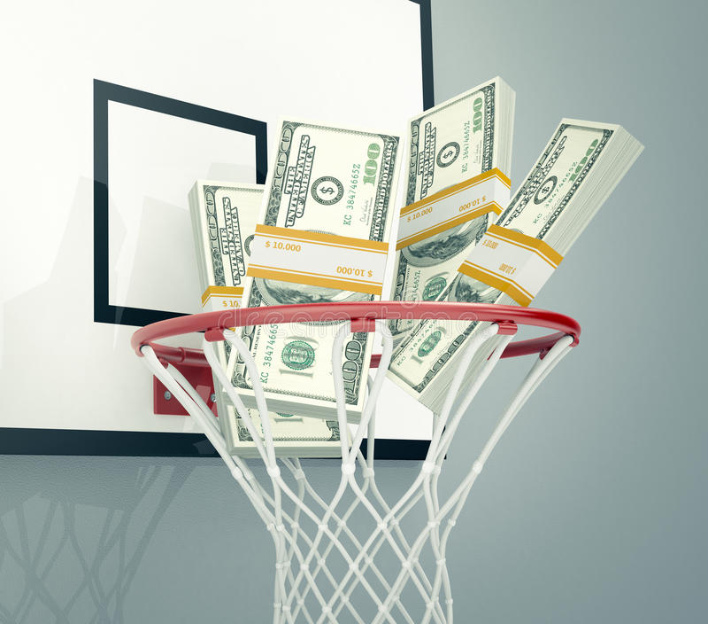 Sport en geld stock afbeeldingen