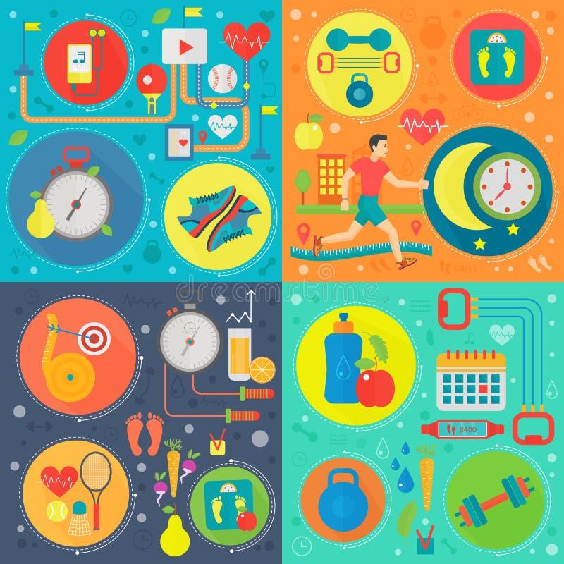 Sport en gezondheids vierkante geplaatste concepten Gezond levensstijlconcept met voedsel en sportpictogrammen Vectorillustratie royalty-vrije illustratie