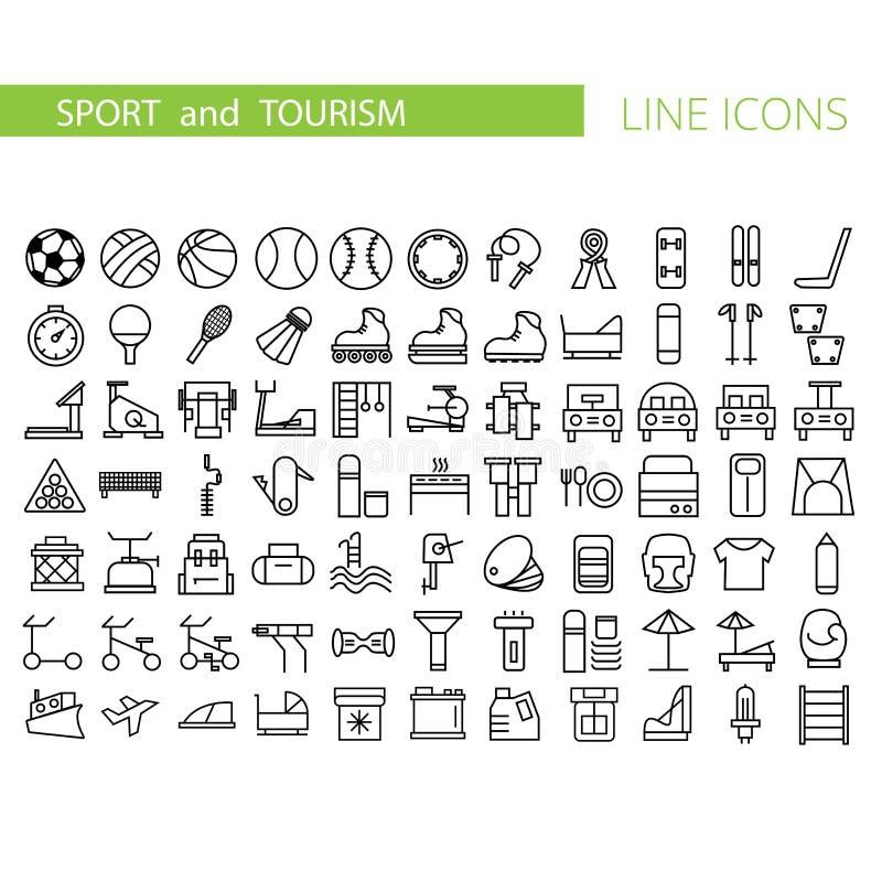 Sport en reeks van het recreatie de vlakke pictogram Inzameling van overzichtssymbolen voor Webontwerp stock illustratie