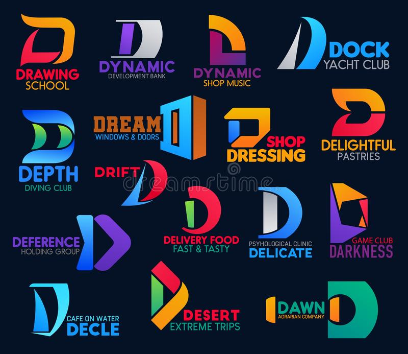 Sport en voedselpictogrammen van D van de bedrijf de collectieve identiteit vector illustratie