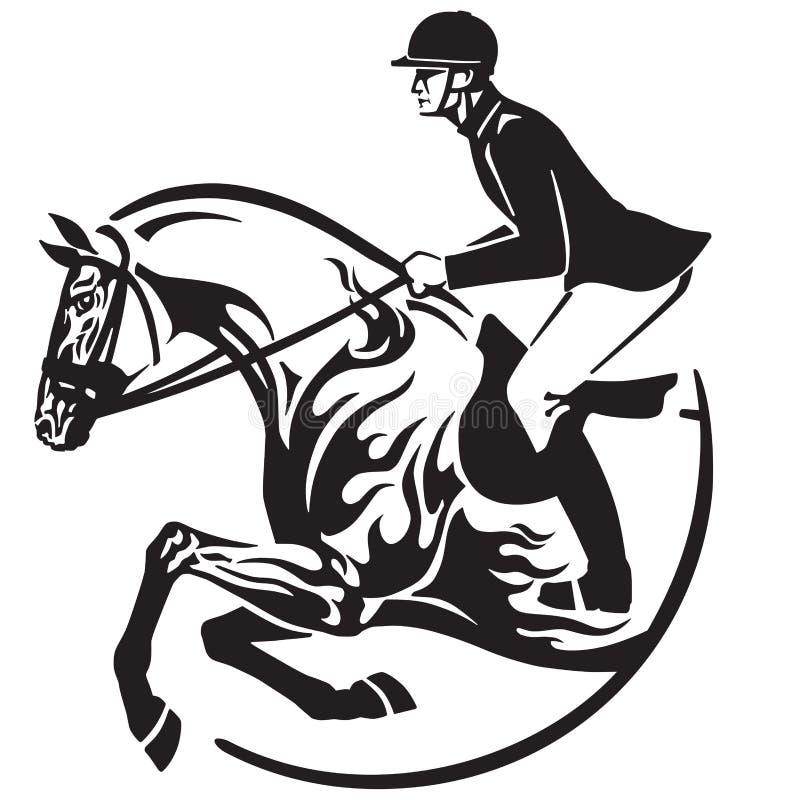 Sport equestre di salto dell'emblema del concorso ippico royalty illustrazione gratis