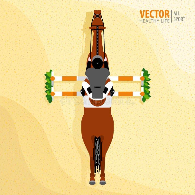 Sport equestre manifesto Cavallo di salto di guida della puleggia tenditrice concorsi Vista superiore Illustrazione di vettore fotografia stock