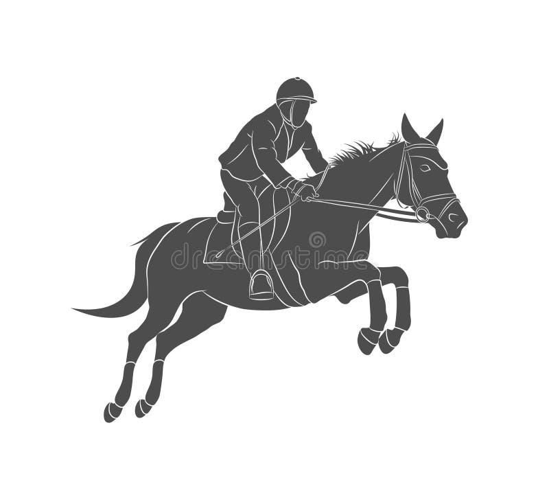 Sport equestri, cavallo che salta, manifestazione che salta, cavallo con il cavaliere della puleggia tenditrice che salta sopra l illustrazione di stock