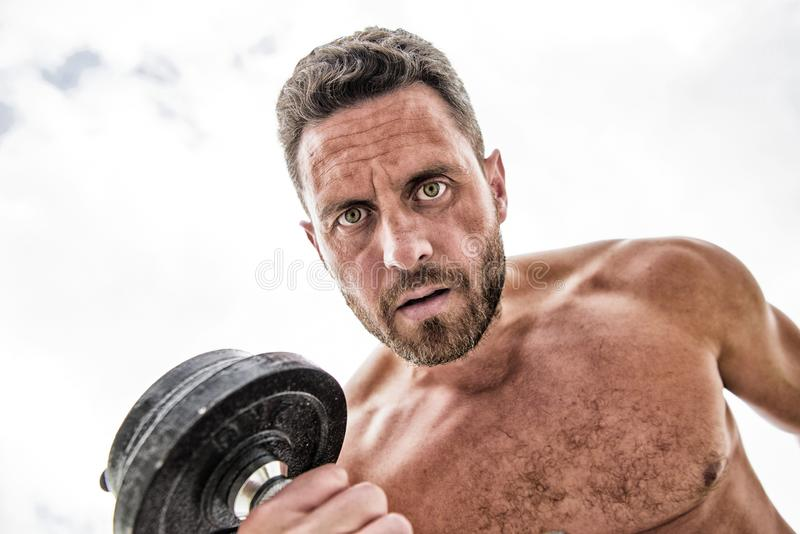 Sport equipment. Fitness and bodybuilding sport. Sport lifestyle. Success is choice. Winning is habit. Dumbbell exercise royalty free stock photo