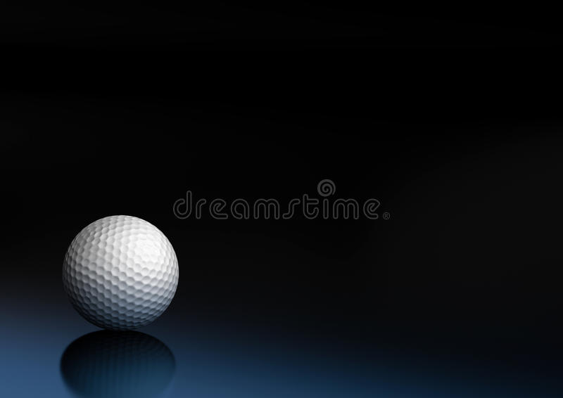 Sport equipment golf ball background. Golf ball on a dark blue and black background, the ball is on the bottom left of the picture royalty free stock photo