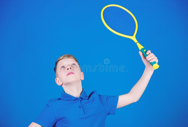 Sport equipment. Happy child play tennis. Sport game equipment. Little boy. Fitness diet brings health and energy. Gym. Workout of teen boy with sport equipment royalty free stock photo
