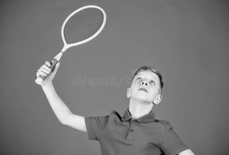 Sport equipment. Happy child play tennis. Sport game equipment. Little boy. Fitness diet brings health and energy. Gym. Workout of teen boy with sport equipment royalty free stock image