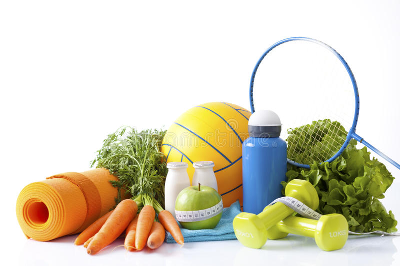Sport equipment and healthy living concept. Healthy living concept with sport royalty free stock images