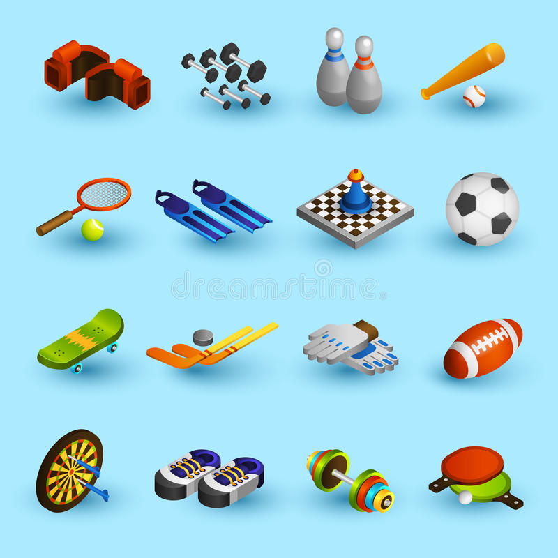Sport equipment icons set royalty free illustration