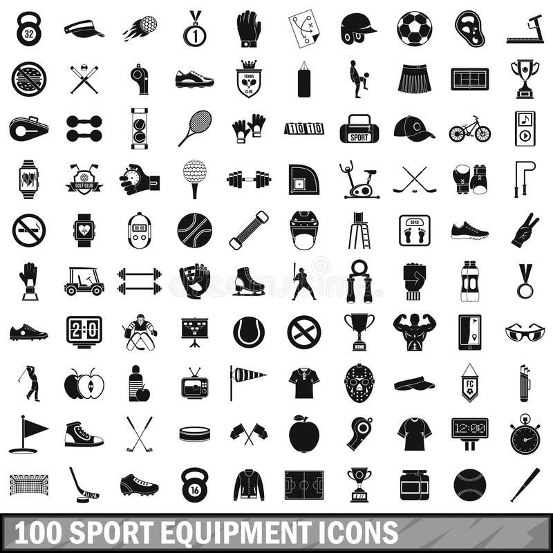 100 sport equipment icons set, simple style. 100 sport equipment icons set in simple style for any design vector illustration royalty free illustration