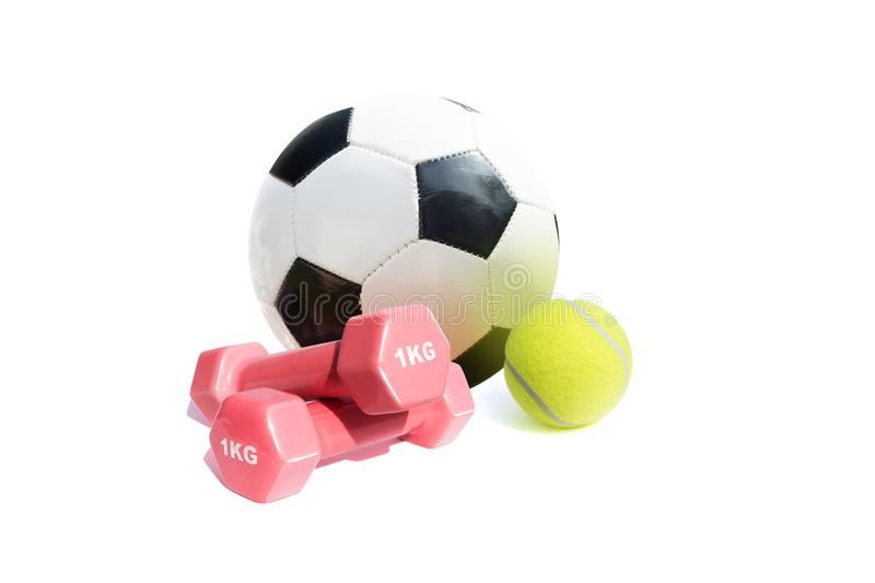 Sport equipment isolate on white background stock photography