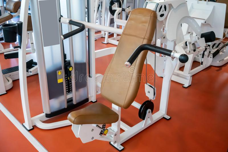 Sport equipment on orange floor in gym royalty free stock photos