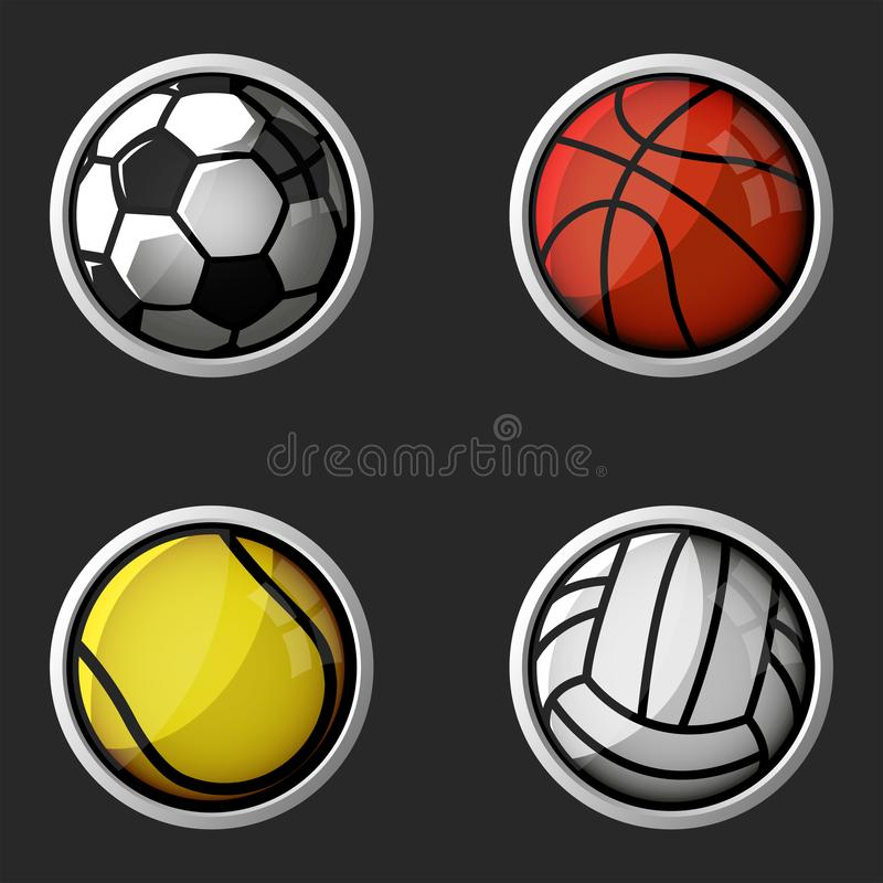 Sport equipment set 3d icons, collection balls football, volleyball, basketball, tennis round shapes symbols vector illustration