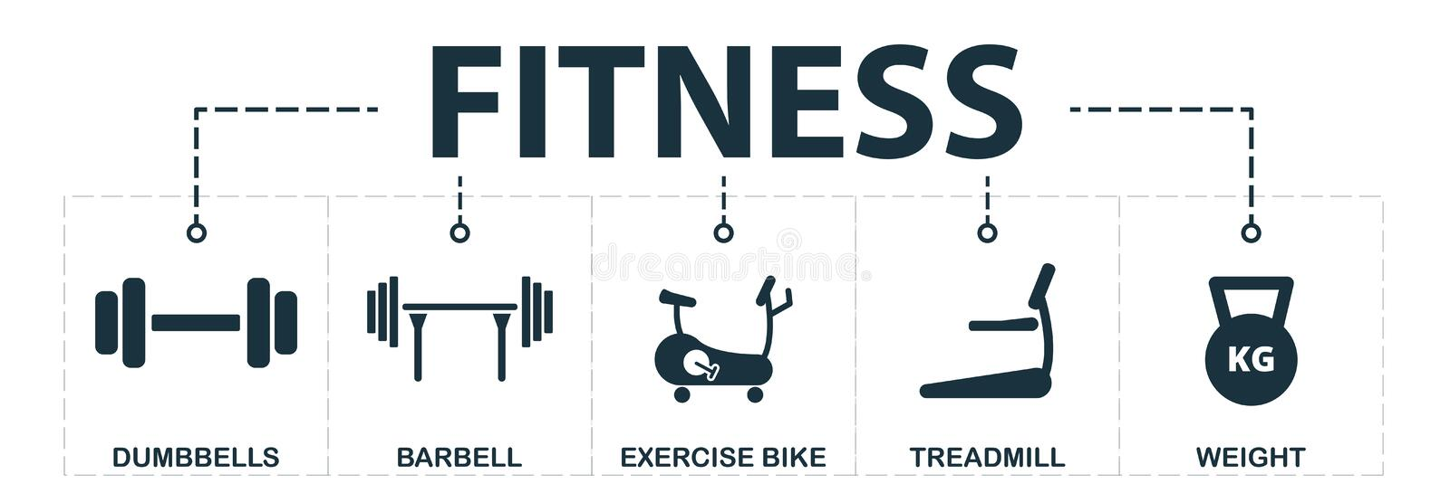 Sport Equipment set icons collection. Includes simple elements such as dumbbells, barbell, exercise bike, treadmill, weight. Premium icons royalty free illustration