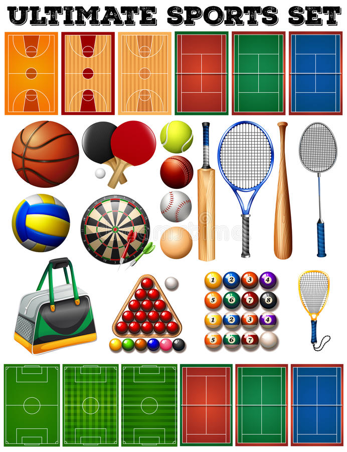 Sport equipments and courts stock illustration