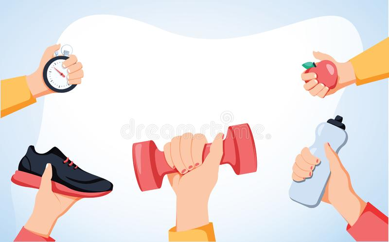 Sport exercise web banner. Time to fitness and workout concept. Idea of active and healthy lifestyle. Training equipment. Sport exercise web banner. Time to royalty free illustration