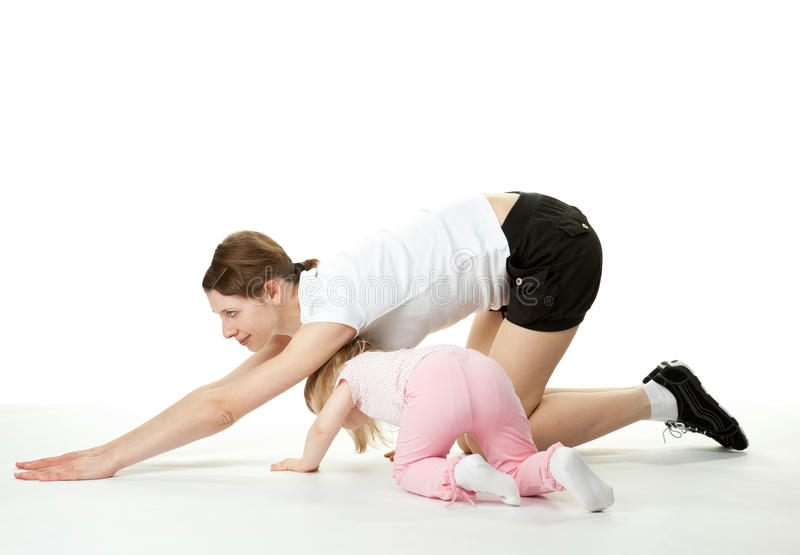 Sport Exercises With Child Stock Photos