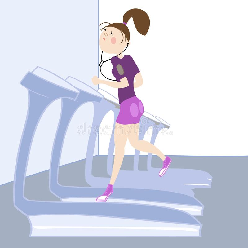 Sport exercises. The girl, exercising in the gym, cardio exercises, running on a treadmill, color  illustration, for sports complex advertising stock illustration