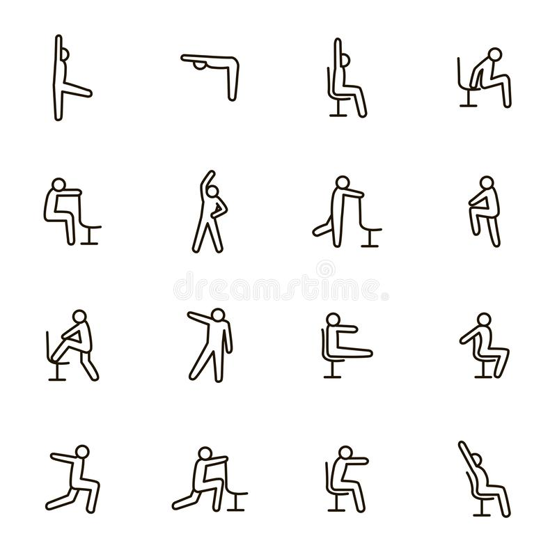 Sport Exercises for Office Signs Black Thin Line Icon Set. Vector royalty free illustration