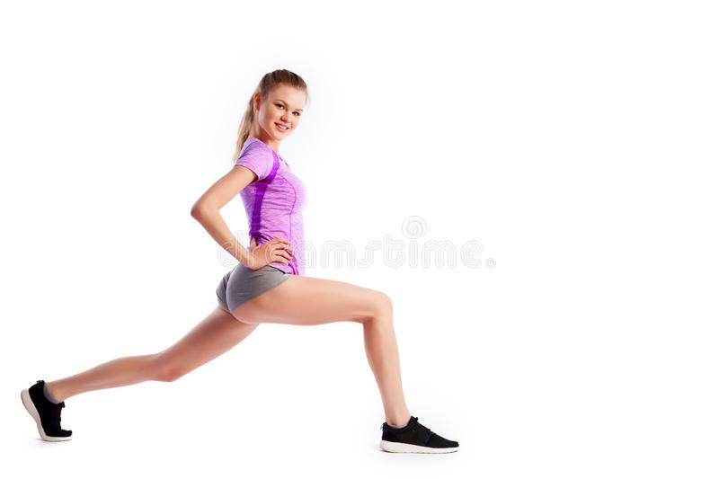 Sport exercises on a white background stock photo