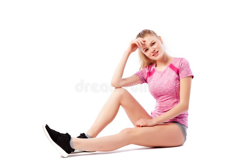 Sport exercises on a white background stock photos
