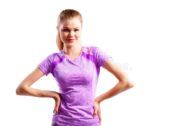 Sport exercises on a white background royalty free stock photos