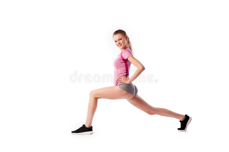 Sport exercises on a white background royalty free stock images