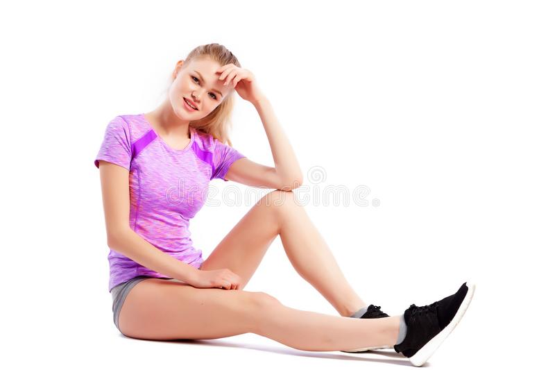 Sport exercises on a white background royalty free stock image