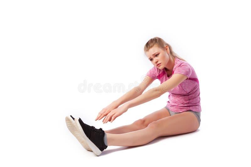 Sport exercises on a white background royalty free stock photo