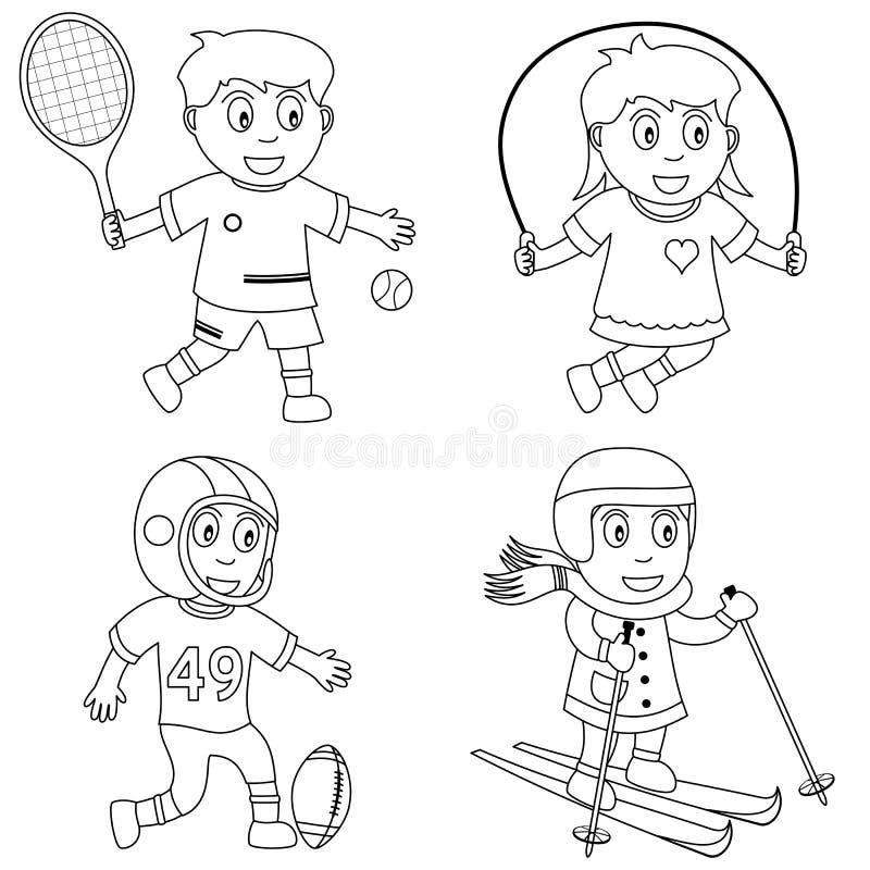 sport för 3 färga ungar vektor illustrationer