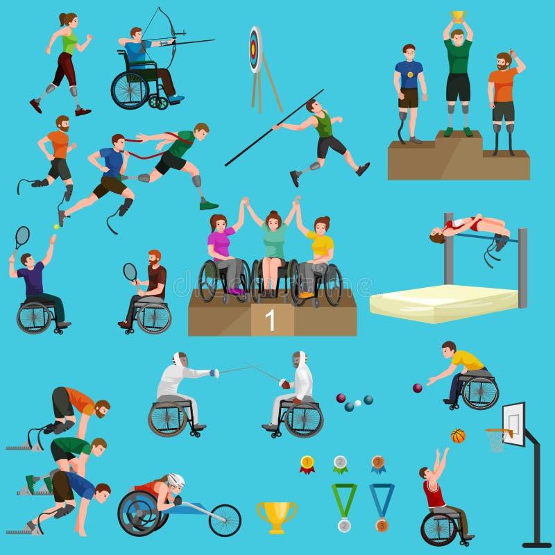 Sport för folk med ogiltiga protes, fysisk aktivitet och konkurrens, begrepp för idrotts- lek för handikappade personer royaltyfri illustrationer