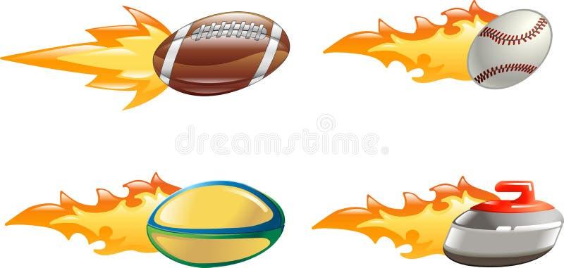 sport för glansiga symboler för flamma blank vektor illustrationer