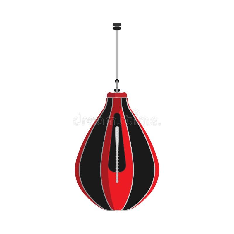 Sport för stansa påse som boxas utbildningsvektorsymbolen Övning för cirkel för idrottshallkamputrustning Knockout- försökstecken vektor illustrationer