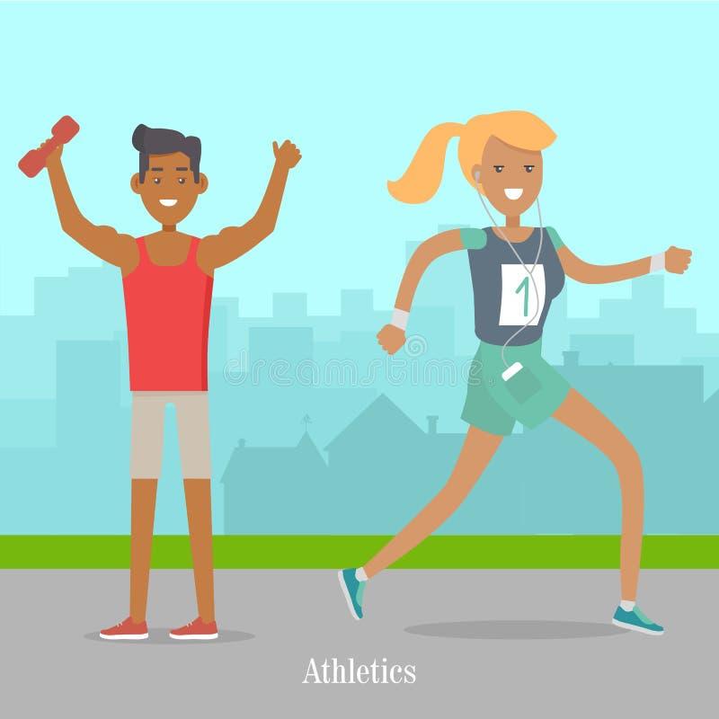 Sport-Fahnen-Leichtathletik-Schablone Sommererholung lizenzfreie abbildung