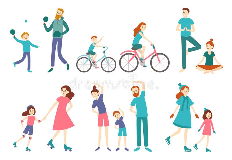 Sport family people. Couple with kids on fitness workout, cycling and play tennis. Sports lifestyle activities vector stock illustration