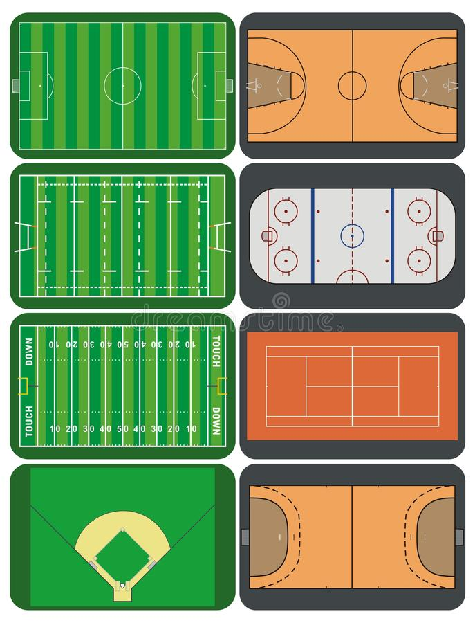 Sport fields and courts vector illustration