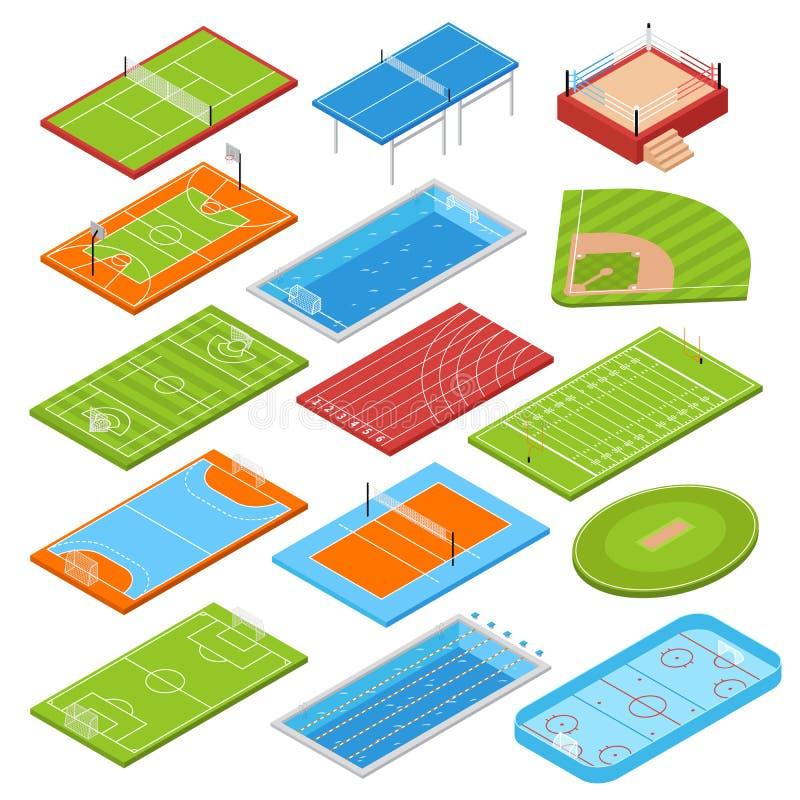 Sport Fields Isometric Set royalty free illustration