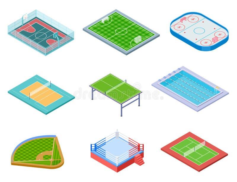 Sport fields isometric. Sports playgrounds handball soccer water area baseball volleyball tennis hockey 3d vector set. Isolated. Illustration of hockey and vector illustration