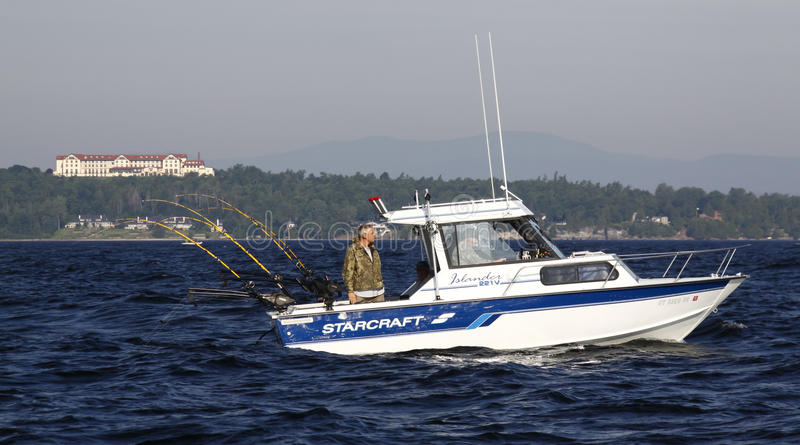 Sport Fishing Lake Champlain off Clinton College royalty free stock photography