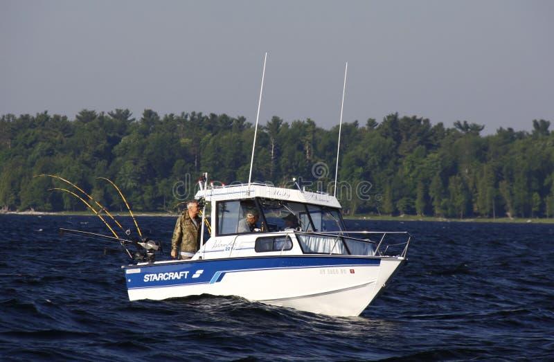 Sport Fishing Lake Champlain off Valcour Island stock photos