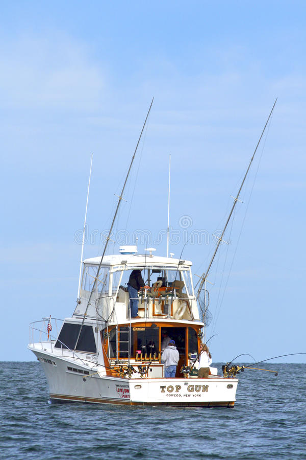 Sport Fishing Lake Ontario - Salmon Charter Boat royalty free stock image